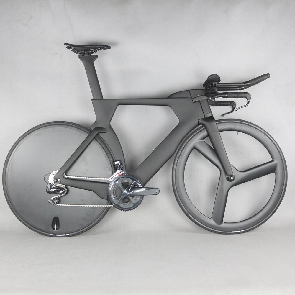 700C vélo complet TT vélo contre la montre Triathlon Fiber de carbone carbone noir couleur cadre de peinture avec groupe DI2 R8060
