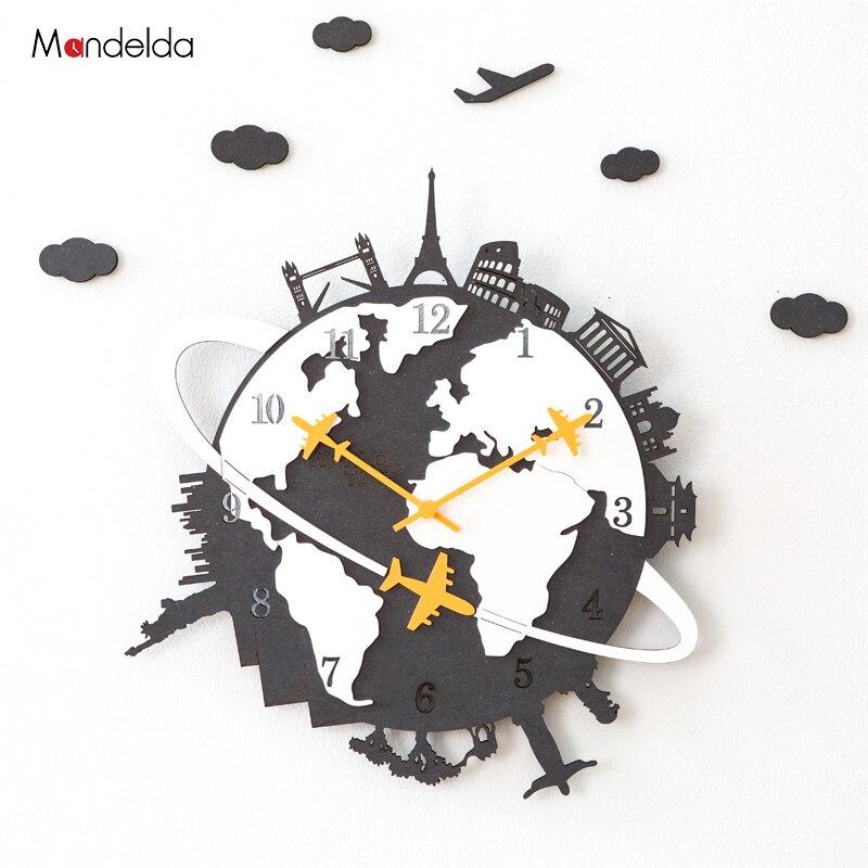 Mandelda Non coutil moderne E0 Grade bois grande horloge murale décoration de la maison bricolage fantaisie décoratif horloges murales en gros