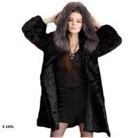 10XL 2018 new imitation mink fur coat jacket and long sections to fight mink coat female imitation fox fur hooded faux fur coat