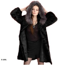 10XL 2018 new imitation mink fur coat jacket and long sections to fight mink coat female imitation fox fur hooded faux fur coat