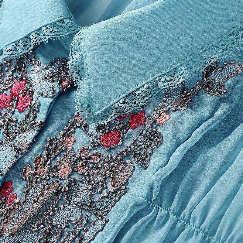 Milan Mousseline S Automne Brodées Robes Bleu Nouveau 2019 Mode Soie Et En De EFcq4w