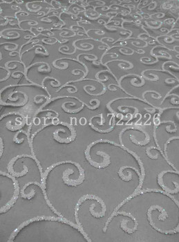 aa0004 newest nice african 5yards cream white hand print net mesh tulle lace    for lady sawing/wedding dress/veil