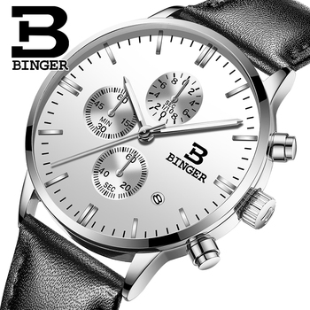 Genuine BINGER Quartz Male Watches Genuine Leather Watches Racing Men Students Game Run Chronograph Watch Male Glow Hands 2017 1