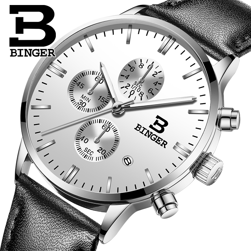 Genuine BINGER Quartz Male Watches Genuine Leather Watches Racing Men Students Game Run Chronograph Watch Male Glow Hands 2017 image