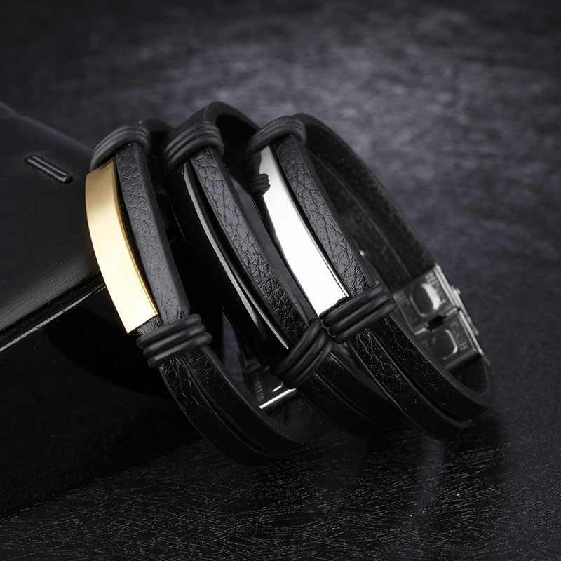 Spersonalizowana grawerowana bransoletka z imieniem dla mężczyzn biżuteria ze stali nierdzewnej bransoletki ze stali i bransoletki modne dodatki (JewelOra BA102255)