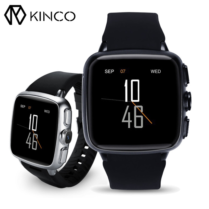 KINCO WIFI Android 5.1 GPS 3G 500 Million Pixels Camera Heart Rate Monitor Athletic Records Smart Watch for IOS/Android smart phone watch 3g 2g wifi zeblaze blitz camera browser heart rate monitoring android 5 1 smart watch gps camera sim card