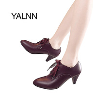 YALNN High Heels Shoes Fur Boots For Girls Women Wine Red Black Leather Shoes For Women