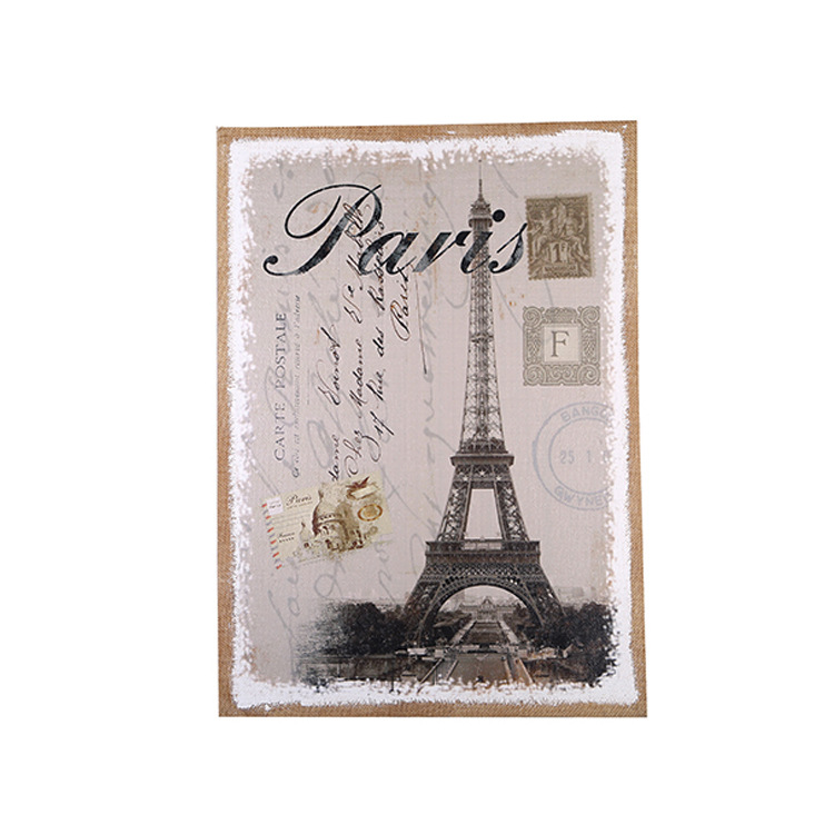 eiffel tower retro nostalgia linen painting wood picture frames creative personality mural vintage picture frames