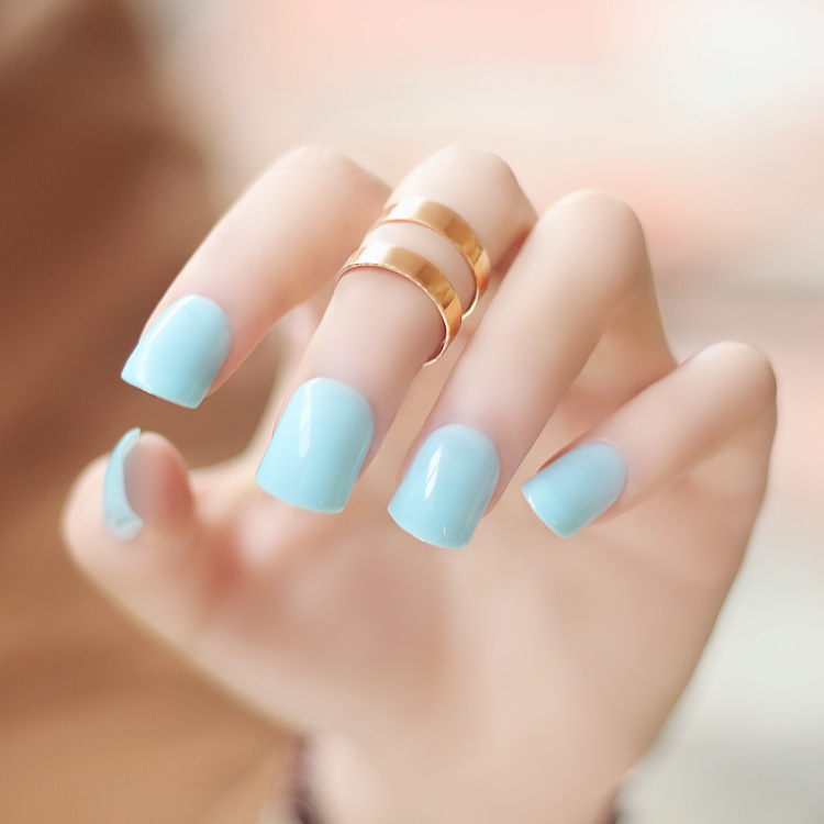 High Quality Pure Color Series Cream Blue Color Fake Nails