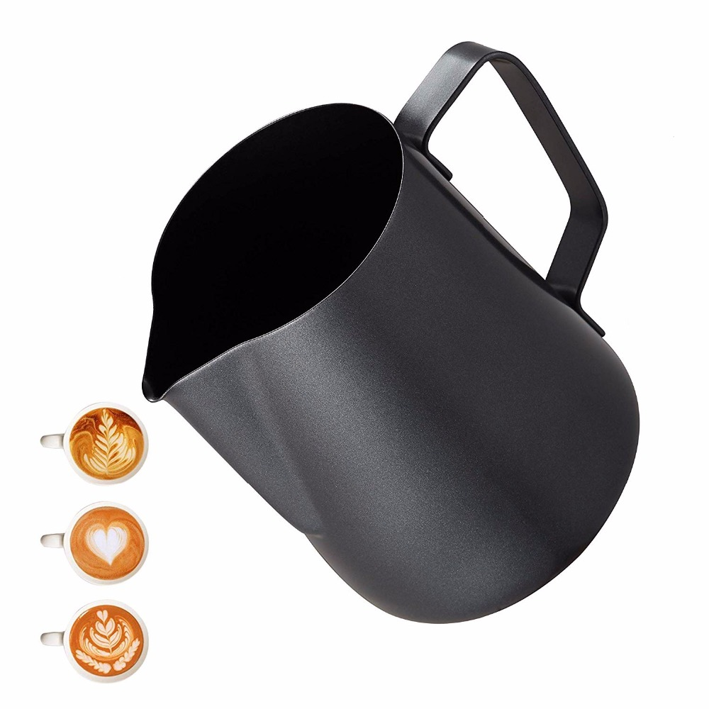 Milk Frothing Frother Pitcher - Non Stick Coating Latte Art Espresso Cappuccino -Food-grade 18/8 Stainless Steel