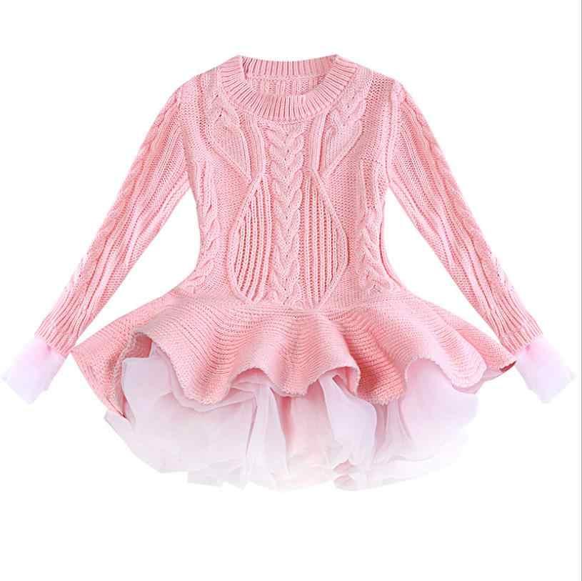 בנות חורף שמלת 2019 אביב חדש חולצות סוודרים סרוגים ילדים תינוקת של בגדים עם חמוד טוטו חצאית יום הולדת תלבושות d927