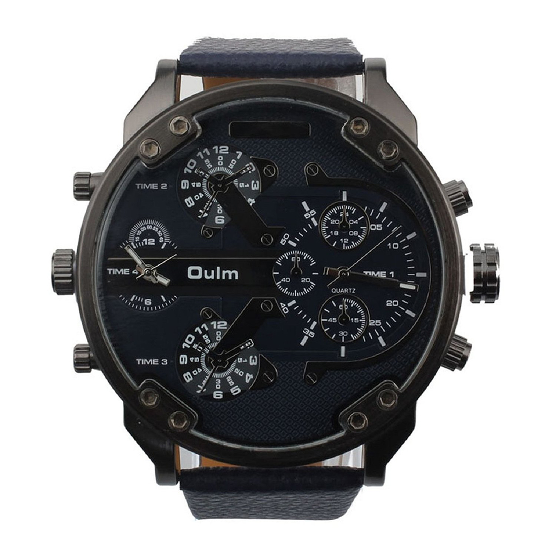 Practical OULM Men Luxury Army Army Dual Time Quartz Large Dial Wrist Watch buck open season caper b0542bks
