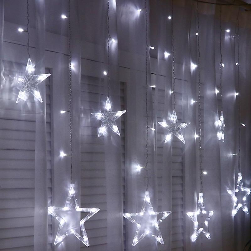 Светодиодные Звездные Занавески праздник Огни Украшения Рождество Белое Окно Занавес Гирлянды свет Свадебные Декоративные Огни На Открытом Воздухе