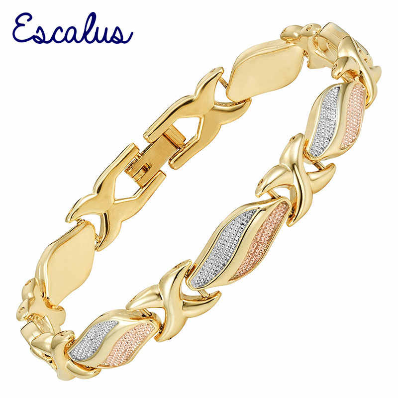 Escalus Trendy Women's Lovely Magnetic Bracelets For Women 3-Tone Color Gold Color Bio Charm New Bracelet Jewelry Bangle