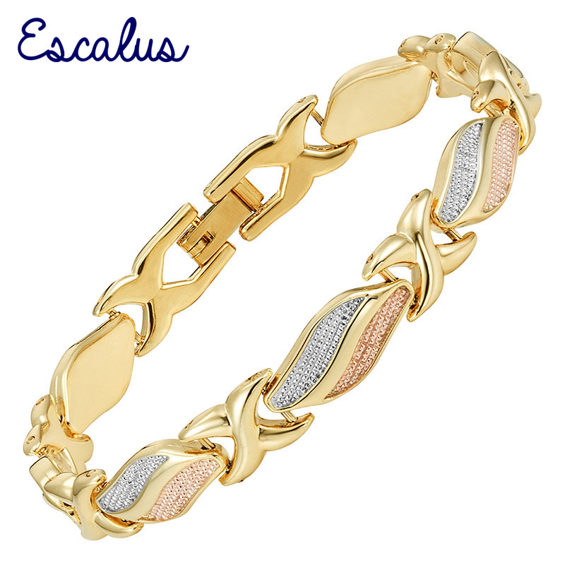 Escalus 2018 Trendy Women's Lovely Magnetic Bracelets For Women 3-Tone Color Gold Color Bio Charm New Bracelet Jewelry Bangle цены онлайн