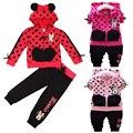 Dot Juventude Algodão Roupa dos miúdos definir Outono primavera Meninos meninas quente algodão casual esporte casaco + calça Longa-manga Mickey roupas garoto