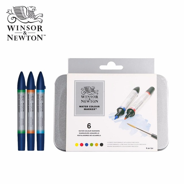1aa6e2ad60bf Winsor   Newton Watercolor Marker Pen Set Soft Water Colour Brush Markers 6  Colors 12 Colors