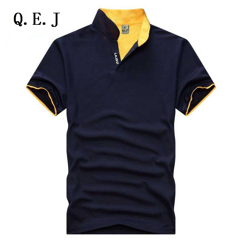 Q.E.J New 2016 Brand Solid Color Stand collar polo Shirt Summer Men Casual Short-sleeve Slim Fit Men Polo Shirt Clothing