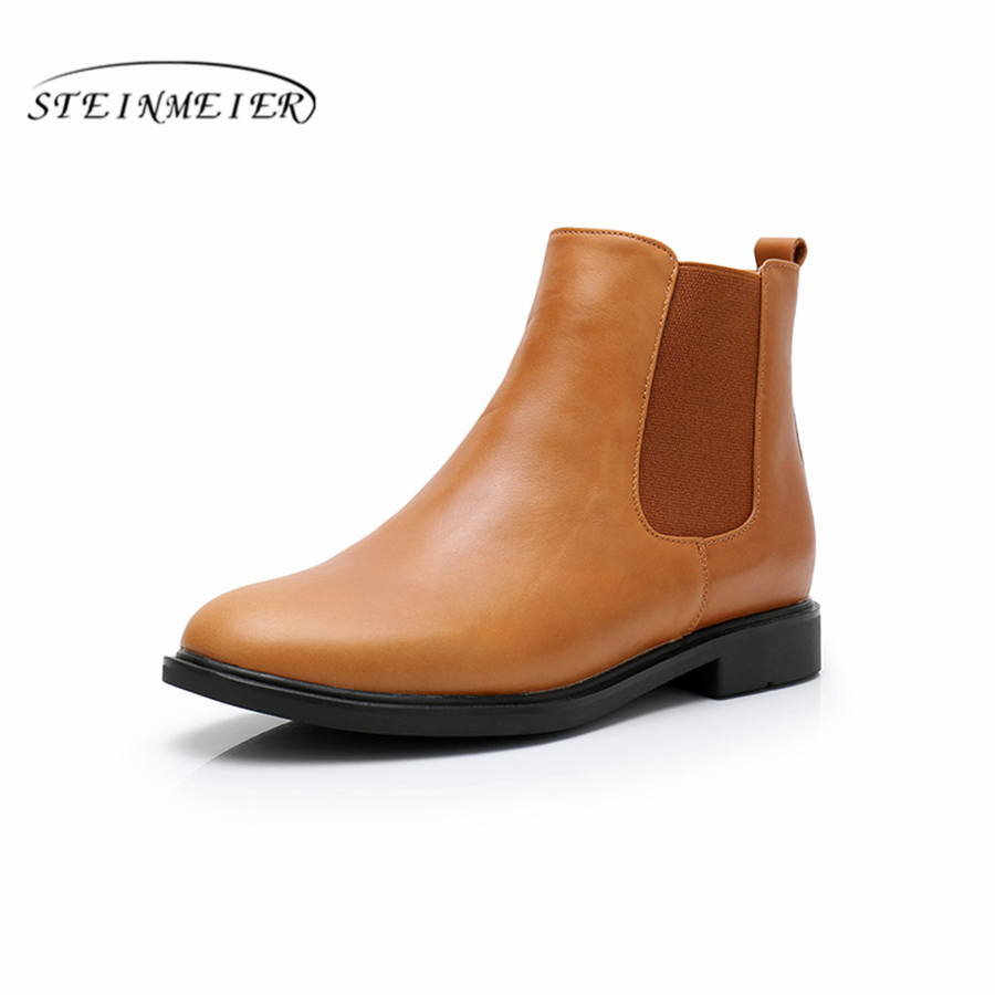 Genuine cow Leather women chelsea Ankle winter flats Boots Comfortable quality soft Shoes Brand Designer Handmade with fur black