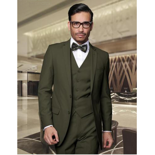 Men's Slim Fit Groomsman Wedding Suit Formal Bridegroom Suits Jacket Pants Vest