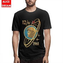 100% Cotton T shirt CCCP Yuri Gagarin 12-4-1961 T-shirt For Men Leisure Camiseta Round Neck Big Size Shirt