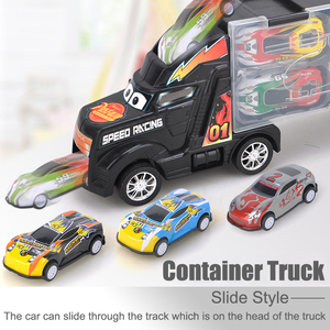 Image 2 - 1/24 Scale Storage Container Truck Plastic Vehicles Toys With Diecast Mini Car Hot Alloy Auto Wheels Magic Tracks Cars For Kids