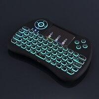 RGB Arka Mini Klavye 2.4G Kablosuz Mini Klavye Mouse Touchpad Uzaktan Kumanda HTPC Android TV için Ahududu Pi 3