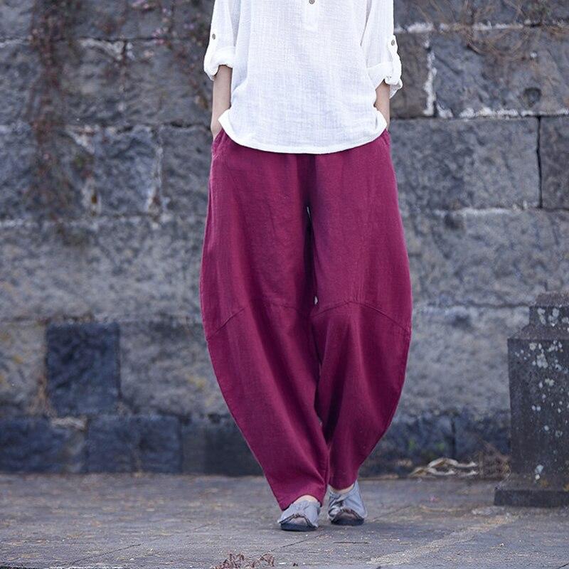 Taille élastique Coton Linge Plus la taille Femmes Long Harem Pantalon Défaites Vintage Lâche Occasionnel Nouveauté D'origine Pantalon Pantalon B170