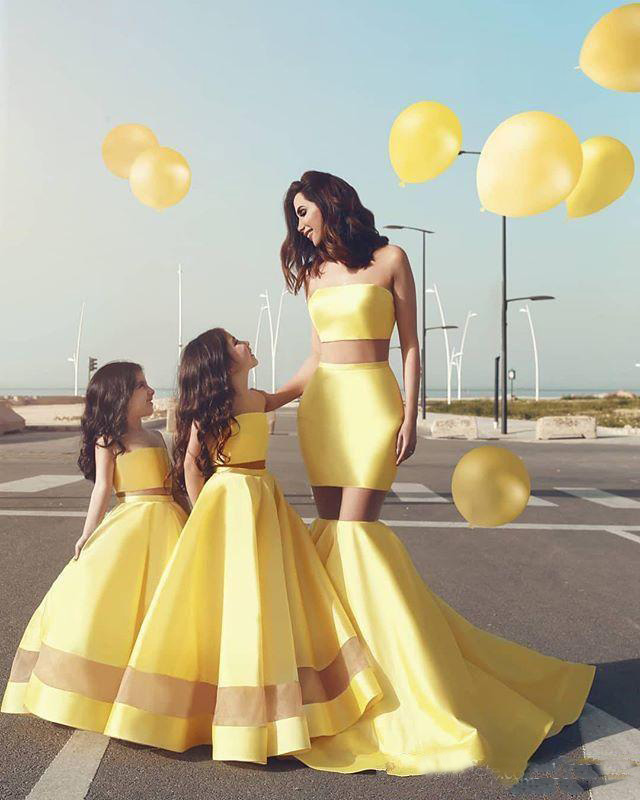 Simple Satin A Line Two Pieces Little Girls Prom Party Dresses Child Girls Pageant Dress 2019 New Collection