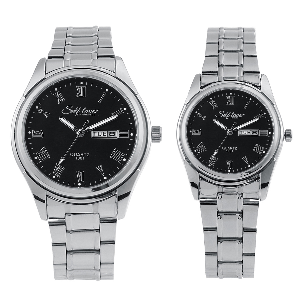 Silver Strip Alloy Couple Lover Plated Black Silver Stainless Steel Strap Black Simple Face with Roman Number Women Man Watch цены