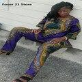 Новый Горячий Продавая шик Моды для Женщин Африканского Печати Повседневная Прямо Печати Топы + Pantsn Оптовая Бесплатная Доставка