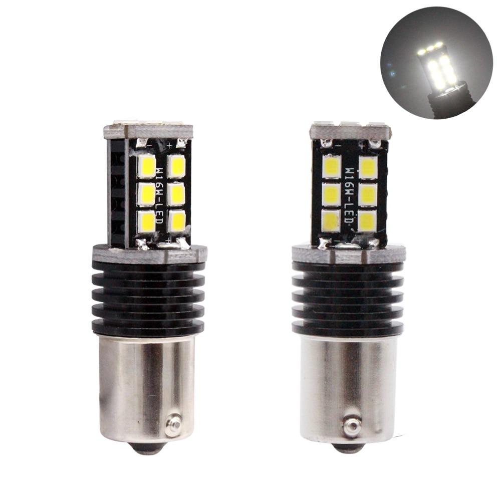 YIJINSHENG 2pcs 1156 BA15S 15 SMD 2835 LED auto High Power brake lamp car Reverse Light Direction Indicator Bulb white red