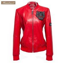 Women's Casual genuine  Leather Jackets with Long Sleeve 7724