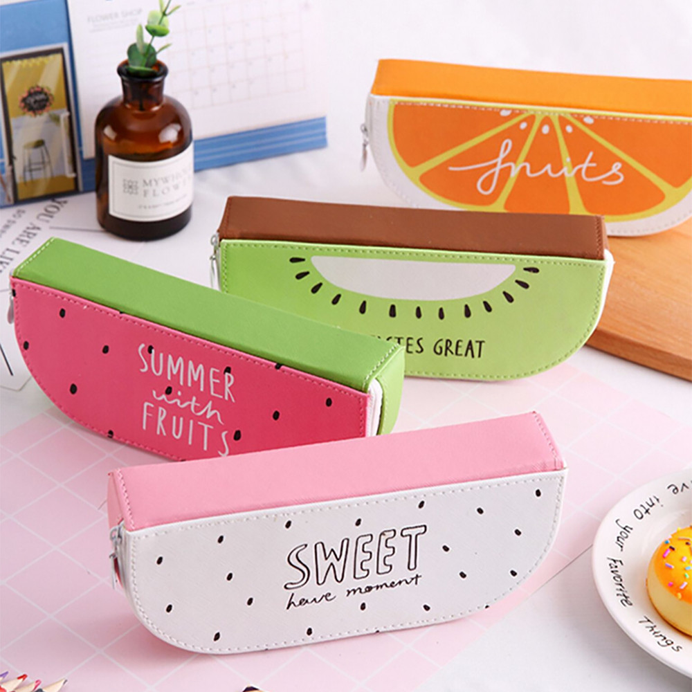 цена Fresh Cute Fruit Orange Watermelon Kiwi Pen Pencil Bag For Students pencil case pencil pen holders Gifts for students new A30