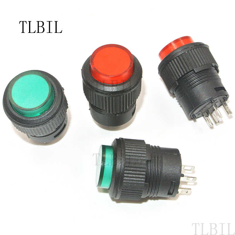 detail feedback questions about r16 503 16mm 4 pins plastic16mm red green led lamp 4pin latching type 16mm round self lock push button switch