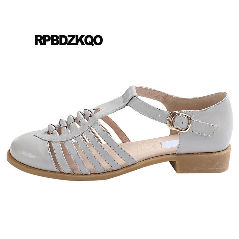 Mori Girl Designer Shoes Women Luxury 2018 Size 34 Sandals Round Toe China Brown White Grey Genuine Leather Chinese High Quality