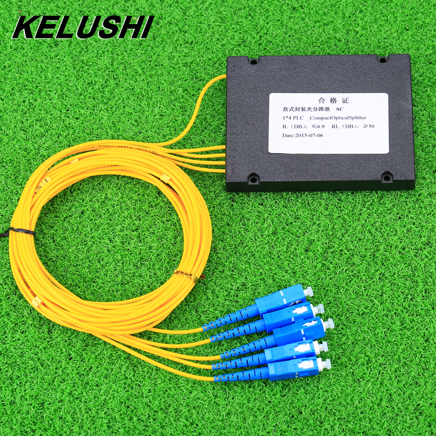 KELUSHI NEW 1x4 Telecom PLC Cassette SC Compact Optical Splitter Planar Waveguide Fiber Optical Branching DeviceKELUSHI NEW 1x4 Telecom PLC Cassette SC Compact Optical Splitter Planar Waveguide Fiber Optical Branching Device