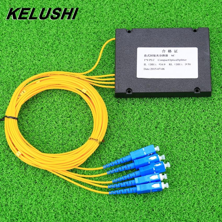 KELUSHI NEW 1x4 Telecom PLC Cassette SC Compact Optical Splitter Planar Waveguide Fiber Optical Branching Device