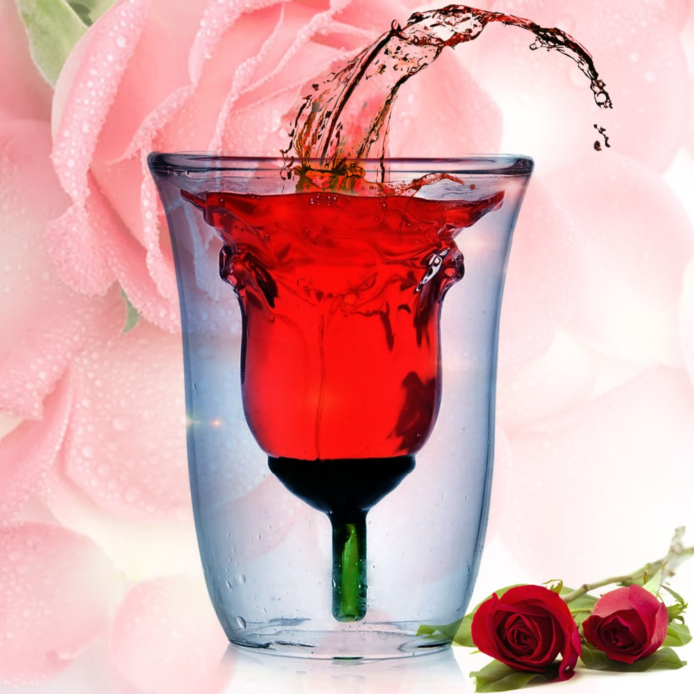 Creative Valentine s Gift 180ml Rose Double Walled Clear Wine Glass Wine Cup Rose Glass Cup