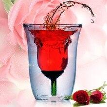 Kreative valentinstag Geschenk 180 ml Rose Doppelwandige Klare Glas Wein Tasse/Rose Glastasse Kostenloser Versand