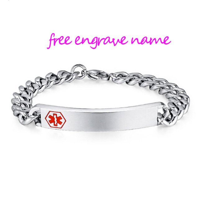 Stainless Steel Id Bracelet Men Woman Medical Alert Bracelets For Diabetic Free Engraved Name