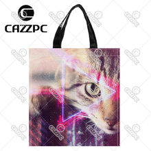 Space Future Science Fiction Fantasy Cat Print Custom Oxford Nylon Fabric Shopping Storage Grocery bag Pack of 2
