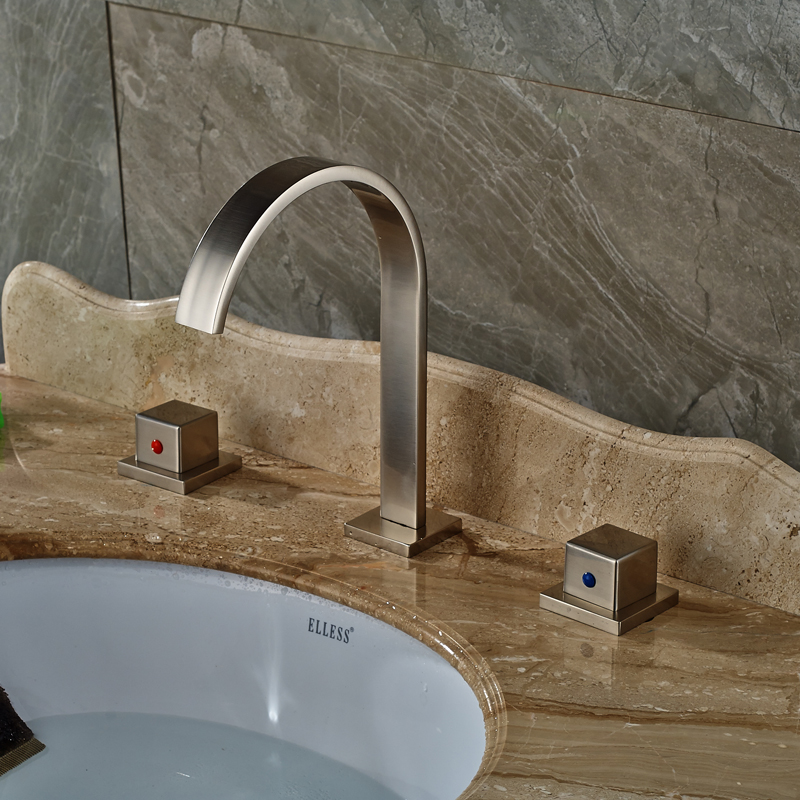 Double Square Handles Bathroom Mixer Faucet Brushed Nickel Waterfall Washbasin Water Taps