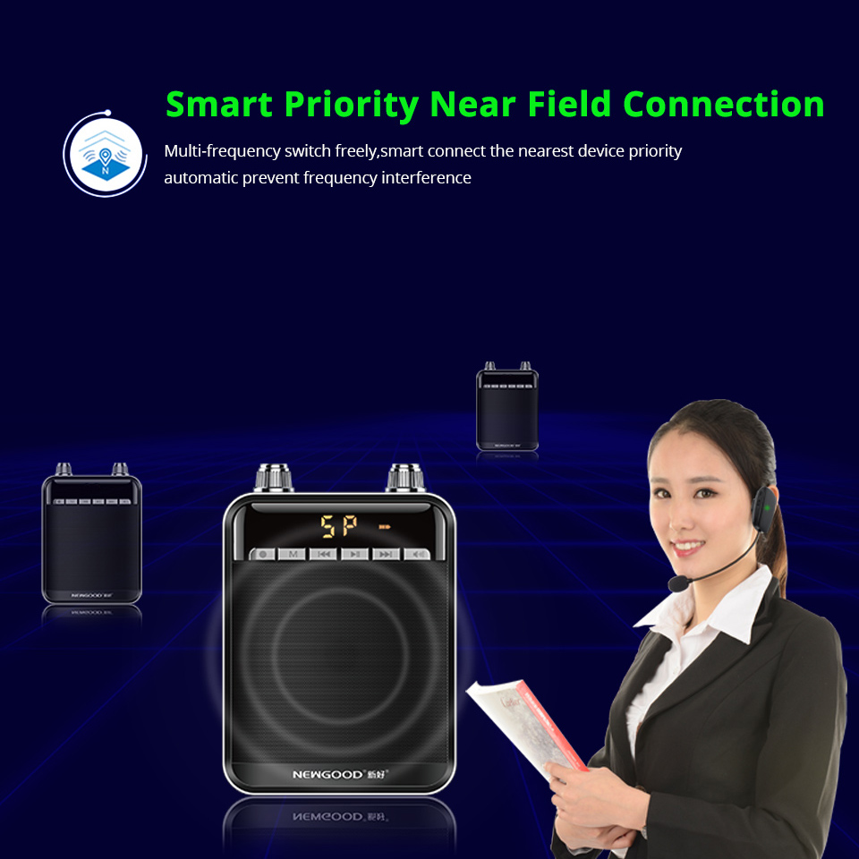 Smart Wireless Portable Voice Amplifier Loud Speaker With UHF Wireless Microphone Megaphone For Teaching Tour Guide Yoga 4
