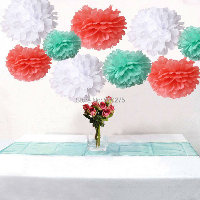 Pack of 18 mixed coral mint white tissue paper pom poms flowers ball pack of 18 mixed coral mint white tissue paper pom poms flowers ball wedding birthday anniversary mightylinksfo