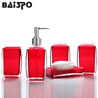 BAISPO Bath Accessories Wash Gargle Suit Bathroom Products Plain High Quality Acrylic Shampoo Storage 5pcs Sets