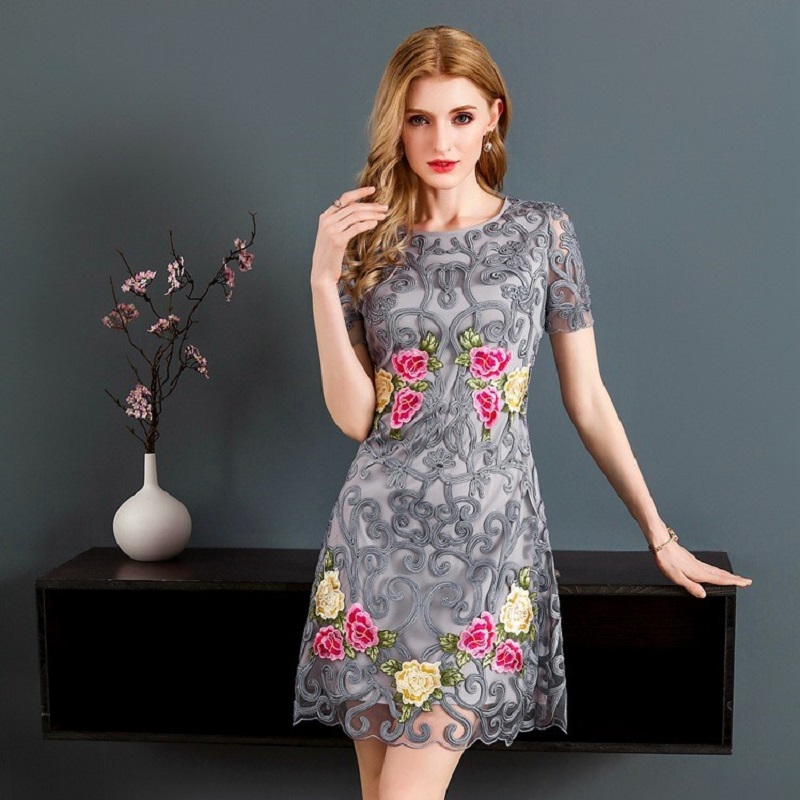 2018 new Fashion Hollow out A-line dress luxury Spring summer Clothes women  Short sleeve elegant Dress XXXL Package hip dresses 9cda932849f8
