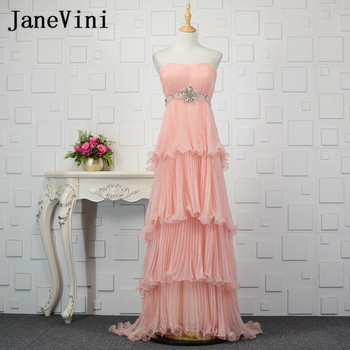 JaneVini 2018 Elegant Pink Tiered Long Bridesmaids Dresses Beaded Strapless Chiffon Party Gowns for Wedding Party Prom Gowns