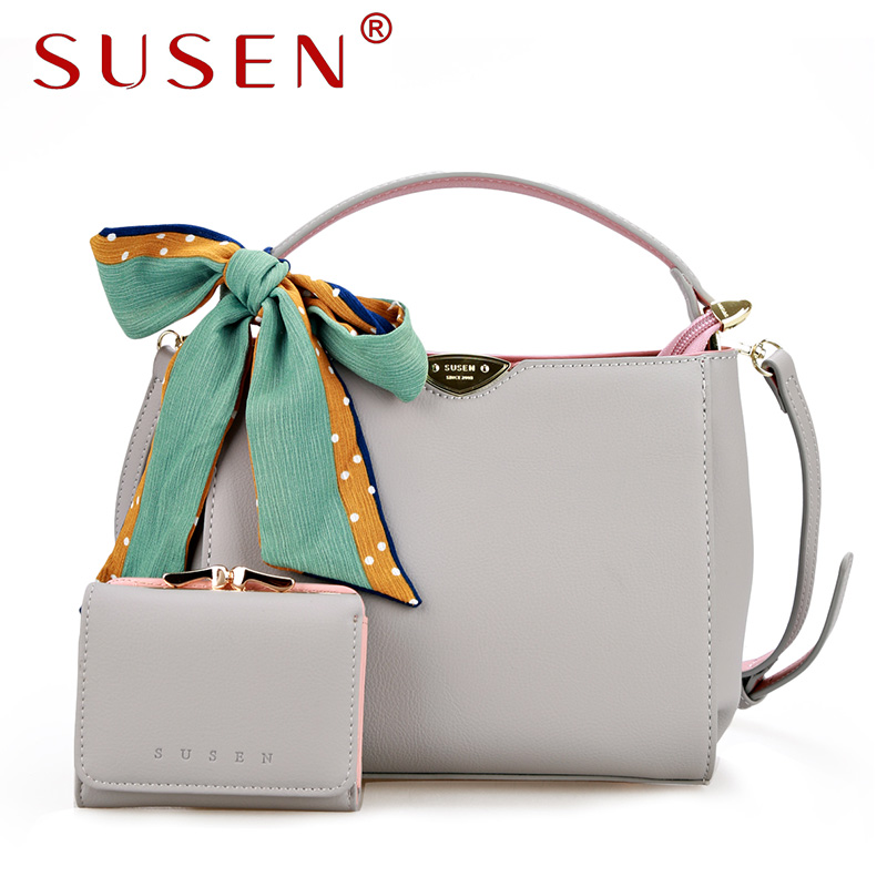ФОТО SUSEN 1309 Women Handle Shoulder Bag Cross Body Bag with Purse 2 Pcs Bag set Fresh Patchwork Color Bag with Ribbons
