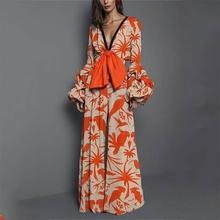 цена на Women Boho Flower Print Bow Tie Jumpsuit Causal V Neck Polyester Wide Leg Romper Elegant Flare Sleeve Jumpsuit One Pieces